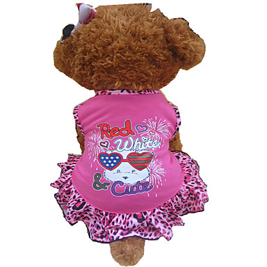 Σκύλος Φορέματα Ρούχα για σκύλους Καρδιά Ζώο Ροζ Τριανταφυλλί Βαμβάκι Στολές Για κατοικίδια