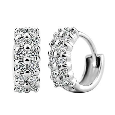 Kadın's Kübik Zirconia Vidali Küpeler - Som Gümüş, Kübik Zirconia Gümüş Uyumluluk Düğün / Parti / Günlük