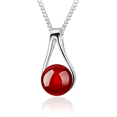 cheap Fashion Necklaces-Women's Red Cora Pendant Necklace Flower Ball Ladies Simple Style Fashion Sterling Silver Silver Black Red Necklace Jewelry For Daily Casual