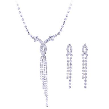 Női Ékszer készlet Nyaklánc / fülbevaló Szintetikus drágakövek Ezüst Cirkonium Hamis gyémánt Esküvő Parti Naušnice Nyakláncok Jelmez