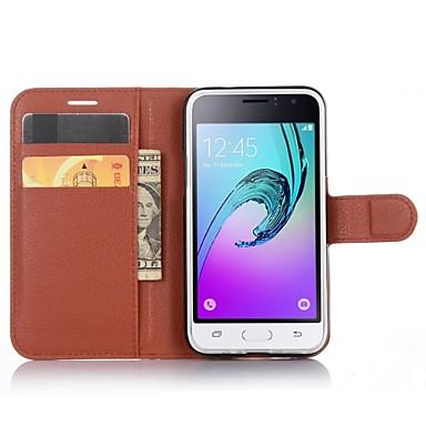voordelige Galaxy J-serie hoesjes / covers-hoesje Voor Samsung Galaxy J1 (2016) Portemonnee / Kaarthouder / met standaard Volledig hoesje Effen Kleur PU-nahka