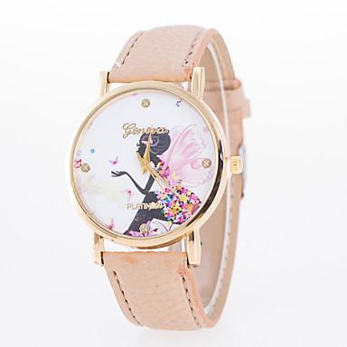 여성용 석영 손목 시계 캐쥬얼 시계 가죽 밴드 참 패션 블랙 화이트 블루 레드 브라운 핑크 베이지 로즈