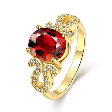 Női Karikagyűrűk Divat elegáns Szintetikus drágakövek Arannyal bevont Oval Shape Ékszerek Kompatibilitás Esküvő Parti Napi