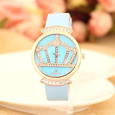 여성용 패션 시계 캐쥬얼 시계 모조 다이아몬드 시계 석영 모조 다이아몬드 가죽 밴드 블루 레드 핑크