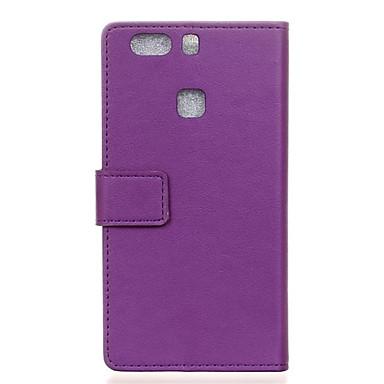 용 화웨이 케이스 지갑 / 카드 홀더 / 스탠드 / 플립 케이스 풀 바디 케이스 단색 하드 인조 가죽 Huawei Huawei P9 Plus