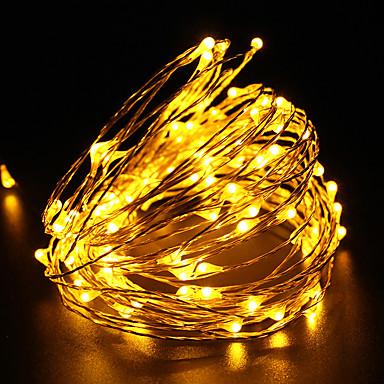 10m rézhuzal vízálló led drót fény dc12v 100led fesztivál party dekoráció kültéri fény