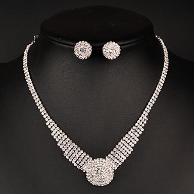 여성용 여성 보석 세트 크리스탈 패션 신부 라인석 목걸이 귀걸이 제품 결혼식 파티 특별한 때 생일 일상 결혼 선물