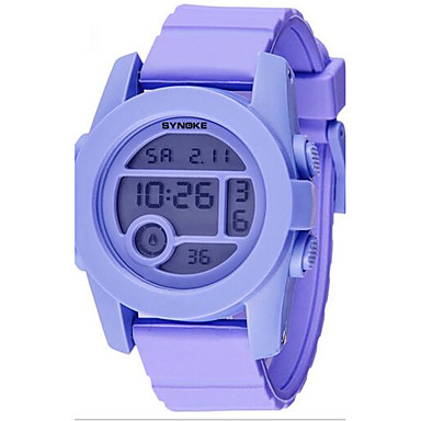 SYNOKE 아동 손목 시계 디지털 시계 디지털 LCD 달력 크로노그래프 방수 경보 야광의 고무 밴드 블랙 실버 퍼플