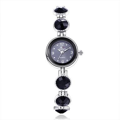 아가씨들 패션 시계 팔찌 시계 석영 합금 밴드 꽃패턴 우아한 블랙
