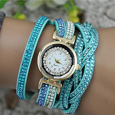 여성용 패션 시계 팔찌 시계 석영 모조 다이아몬드 PU 밴드 블랙 화이트 블루 브라운 퍼플 로즈