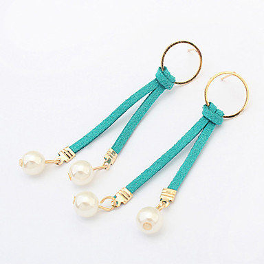 여성 드랍 귀걸이 링 귀걸이 패션 유럽의 모조 진주 가죽 Circle Shape 보석류 제품 파티 일상 캐쥬얼