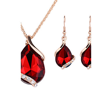 Women's Crystal Rose Gold / Crystal / Rhinestone Drop Jewelry Set Earrings / Necklace - Fashion Red / Green / Blue Jewelry Set / Drop