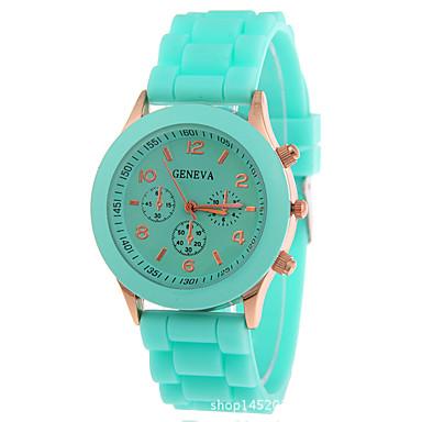 Жен. Кварцевый Наручные часы Секундомер силиконовый Группа Блестящие Мода Черный Белый Синий Красный Оранжевый Коричневый Зеленый Розовый