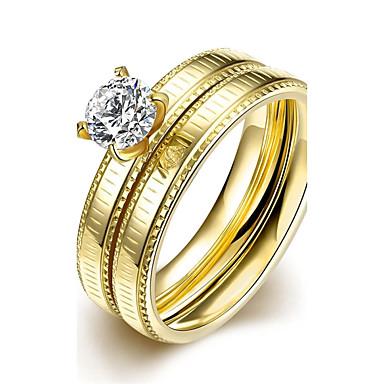 Bájos / Imádni való Luxus / Bohém Kocka cirkónia Cirkonium / Kocka cirkónia / Arannyal bevont Band Ring / Nyilatkozat gyűrű / Gyűrű -
