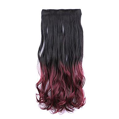 검은 색과 빨간색 길이 60cm 합성 그라데이션 5 장의 카드 머리 긴 직선 머리 가발 (색상 2tburg)