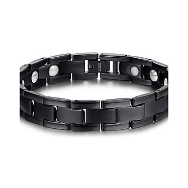 billige Fine smykker-Herre Kæde & Lænkearmbånd Magnetisk armbånd Titanium Stål Europæisk Mode Indledende Armbånd Smykker Sort Til Julegaver