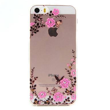 Case Kompatibilitás iPhone SE/5s/5 Apple iPhone 5 tok Átlátszó Hátlap Virág Puha TPU mert iPhone SE/5s iPhone 5