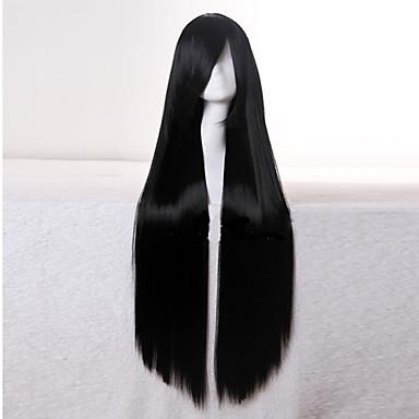 Synthetische Perücken Glatt Synthetische Haare 10 Zoll Schwarz Perücke Damen Kappenlos Schwarz