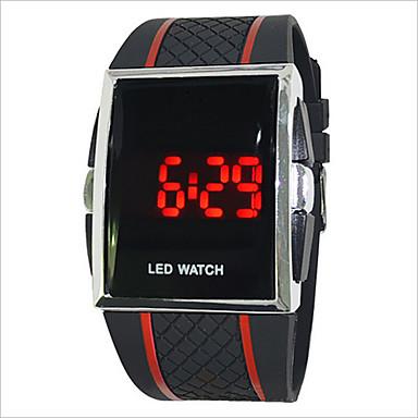 Férfi Női Páros Digitális Sportos óra Érintőképernyő LED PU Zenekar Amulett Fekete Fehér Piros