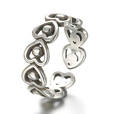 Férfi Női Karikagyűrűk Szerelem Szív Divat Állítható jelmez ékszerek Ezüst Heart Shape Ékszerek Kompatibilitás Napi Hétköznapi