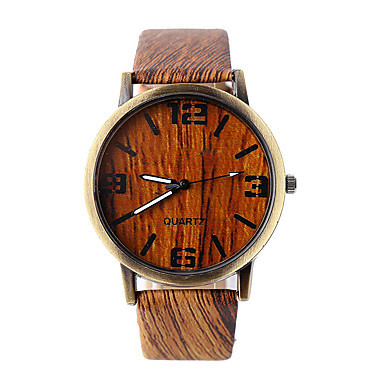 זול שעוני גברים-בגדי ריקוד גברים שעון יד קווארץ דמוי עור מרופד אפור / חאקי שעונים יום יומיים אנלוגי קסם עץ - 4# 5# 6# שנה אחת חיי סוללה / Tianqiu 377