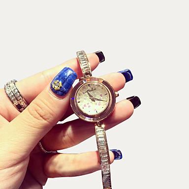 여성용 패션 시계 모조 다이아몬드 시계 페이브 시계 석영 일본 쿼츠 캐쥬얼 시계 로즈 골드 도금 스테인레스 스틸 밴드 스파클 골드
