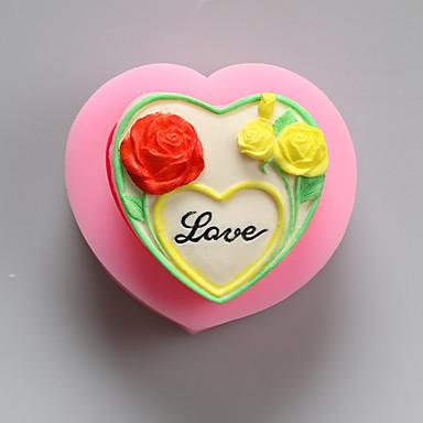 꽃 초콜릿 실리콘 몰드, 케이크 금형, 비누 몰드, 장식 도구 내열 접시를 사랑