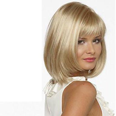 Peruci Sintetice Drept Stil Cu breton Fără calotă Perucă Blond Blond Păr Sintetic Pentru femei Partea laterală Blond Perucă Scurt / Mediu hairjoy Halloween Wig