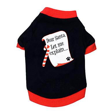 고양이 강아지 티셔츠 강아지 의류 문자와 숫자 블랙/레드 면 코스츔 애완 동물 남성용 여성용 크리스마스