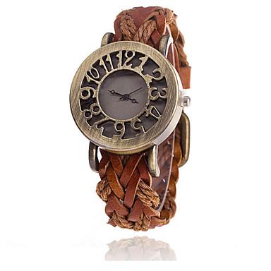 여성용 스켈레톤 시계 패션 시계 석영 캐쥬얼 시계 가죽 밴드 스파클 참 멋진 블랙 화이트 블루 브라운 그린 멀티컬러