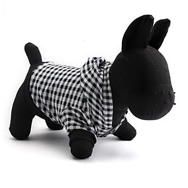 고양이 강아지 후드 강아지 의류 통기성 캐쥬얼/데일리 기하 블랙 코스츔 애완 동물