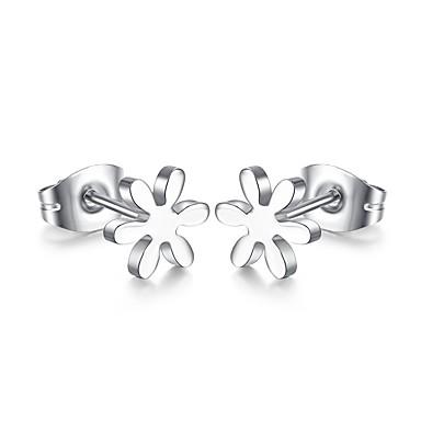 여성용 스터드 귀걸이 캐쥬얼 패션 티타늄 스틸 꽃장식 보석류 일상 캐쥬얼