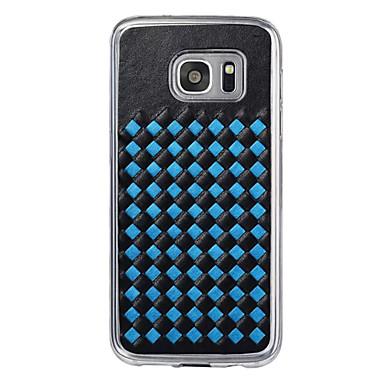 용 Samsung Galaxy S7 Edge 엠보싱 텍스쳐 케이스 뒷면 커버 케이스 기하학 패턴 하드 인조 가죽 Samsung S7 edge / S7