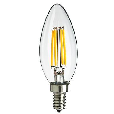 HRY 1 개 2700-6500 lm E14 LED필라멘트 전구 C35 4 LED가 COB 장식 따뜻한 화이트 차가운 화이트 AC 220-240V