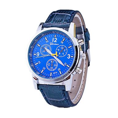 זול שעוני גברים-בגדי ריקוד גברים שעון יד קווארץ עור שחור / כחול / חום מעצבים / שְׁוֵיצָרִי אנלוגי קלסי יום יומי שעוני שמלה - שחור חום כחול