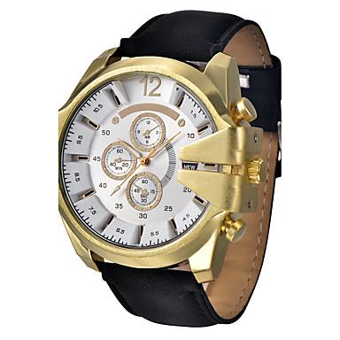 Недорогие Часы на кожаном ремешке-Муж. Модные часы Кварцевый Цифровой Кожа Черный / Аналоговый На каждый день - Кофейный Коричневый Синий / Нержавеющая сталь