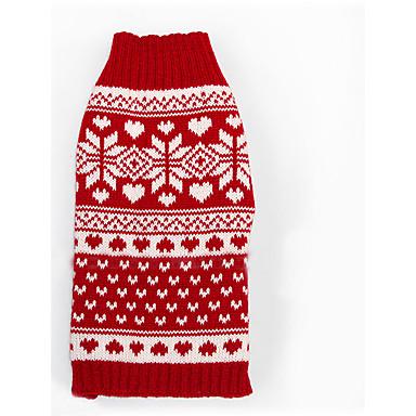 고양이 강아지 스웨터 강아지 의류 패션 새해 크리스마스 눈송이 레드 코스츔 애완 동물