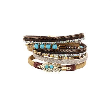 Women's Crystal Wrap Bracelet Leather Bracelet - Crystal, Leather, Rhinestone Tassel, Vintage, Bohemian Bracelet Blue / Light Brown / Black / Gray For Party Daily Casual