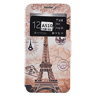 Mert Samsung Galaxy tok Kártyatartó / Ütésálló / Porálló / Állvánnyal Case Teljes védelem Case Eiffel torony Puha Műbőr SamsungA9(2016) /