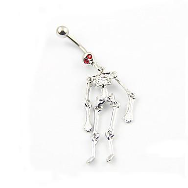 Kadın's Vücut Mücevheri Navel & Bell Button Rings Lüks Kristal Simüle Elmas Kurukafa Mücevher Uyumluluk Günlük