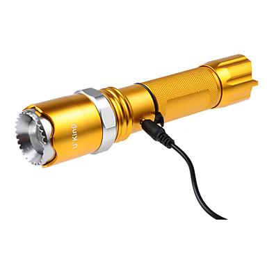 U'King ZQ-X924 LED손전등 LED 1200LM lm 5 모드 - 크리어 XM-L2 줌이 가능한 조절가능한 초점 충전식 휴대성 캠핑/등산/동굴탐험 등산 야외 골드 블랙 브라운 그린 블루