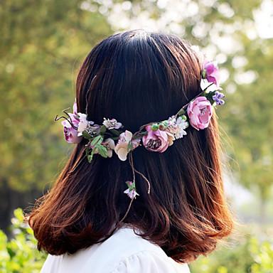 아름다운 보라색은 여성 결혼식 파티 휴가 머리 보석 꽃 화환 헤드 밴드 장미