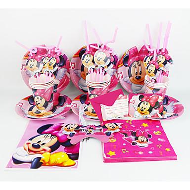 미니 마우스 92pcs 생일 파티 장식 아이 evnent 파티 용품 파티 장식 12명 사용