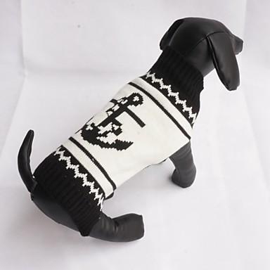 고양이 강아지 스웨터 강아지 의류 캐쥬얼/데일리 패션 세일러 블랙 코스츔 애완 동물