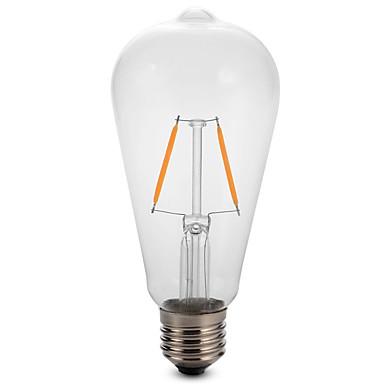 1 개 2W 180lm E26 / E27 LED필라멘트 전구 ST64 2 LED 비즈 COB 장식 따뜻한 화이트 차가운 화이트 220-240V
