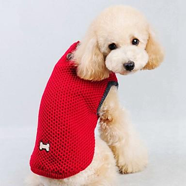 고양이 강아지 스웨터 조끼 강아지 의류 캐쥬얼/데일리 따뜻함 유지 솔리드 레드 블루 코스츔 애완 동물