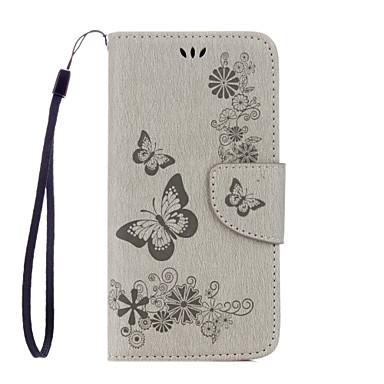 Kılıf Na Samsung Galaxy Samsung Galaxy S7 Edge Etui na karty Portfel Z podpórką Flip Wzór Wytłaczany wzór Pełne etui Motyl Miękkie Skóra