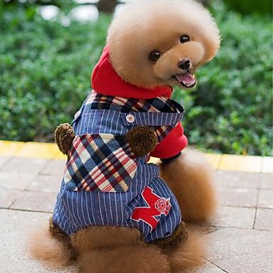 강아지 후드 점프 수트 강아지 의류 격자무늬/체크 레드 그린 면 코르덴 코스츔 애완 동물 남성용 여성용 휴일 패션