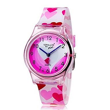 Kwarcowy Zegarek na nadgarstek Kolorowy Plastic Pasmo Heart Shape Słodycze Na co dzień Modny Nowoczesne Różowy