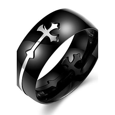 Herrn Edelstahl Kreuz Ring - Kreuz Schwarz Ring Für Büro / Geschäftlich / Alltag